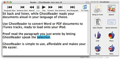 Interface de usuario de Ghost Reader